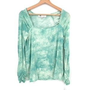 NEW Fever Square-neck blouse Green Tie-Dye top boho ribbed stretch M women's